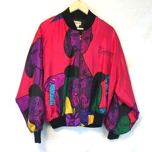 Vintage Artsy Picasso Painting Bomber Jacket OS